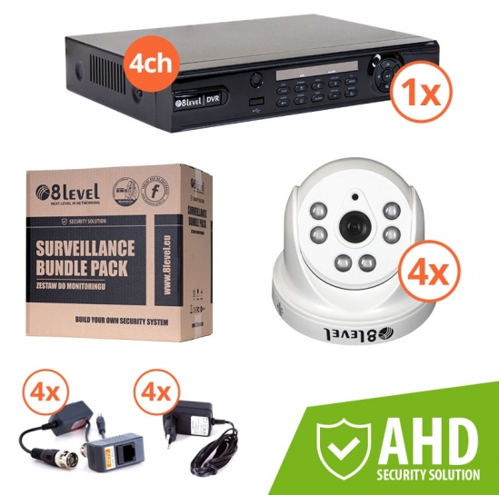 Surveillance kit (DVR 1080P 4-ch + 4x AHD int cam) (KIT-DVR4-1080P4I7204) | 8level