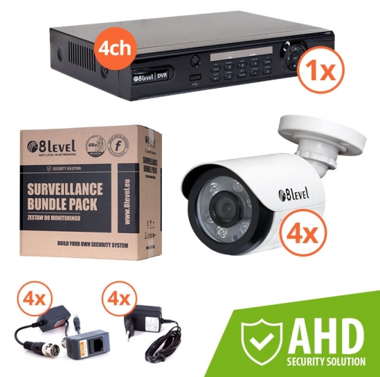 zestaw DVR 1080P 4-kan + 4xkam AHD zewn (KIT-DVR4-4E1080-363) | 8level
