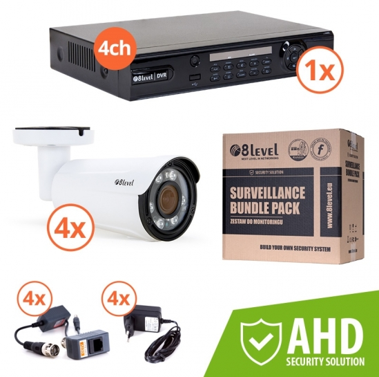 Surveillance kit (DVR 1080P 4-ch + 4x AHD ext cam) (KIT-DVR4-4E1080-VF42) | 8level