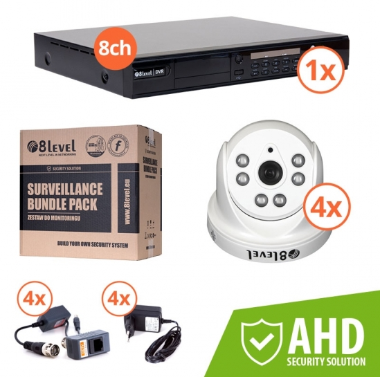 zestaw DVR 1080P 8-kan + 4xkam AHD wewn (KIT-DVR8-1080P-4I720) | 8level