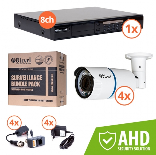 Surveillance kit (DVR 1080P 8-ch + 4x AHD ext cam) (KIT-DVR8-4E1080-VF4) | 8level