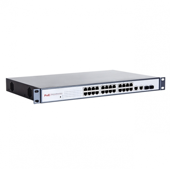 "Unmanaged PoE switch (24xFE PoE-af,2xGE/SFP,400W,1U,19"") (FEPS-2624F) 